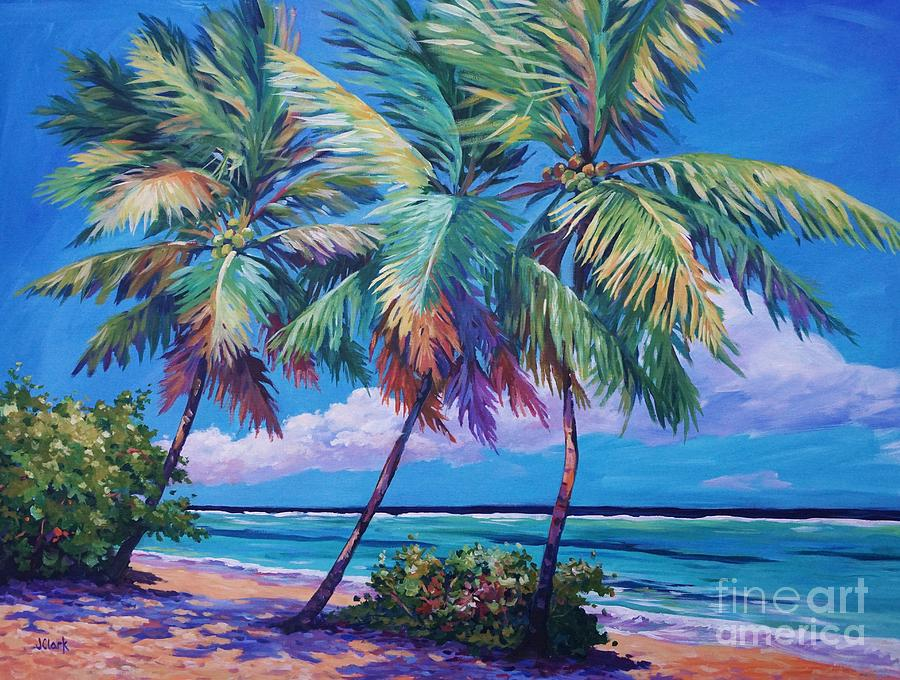 Cayman Painting - Swaying Palms  by John Clark