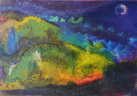 Expressionism Landscape Painting - Sweat Lodge Night by Tolere