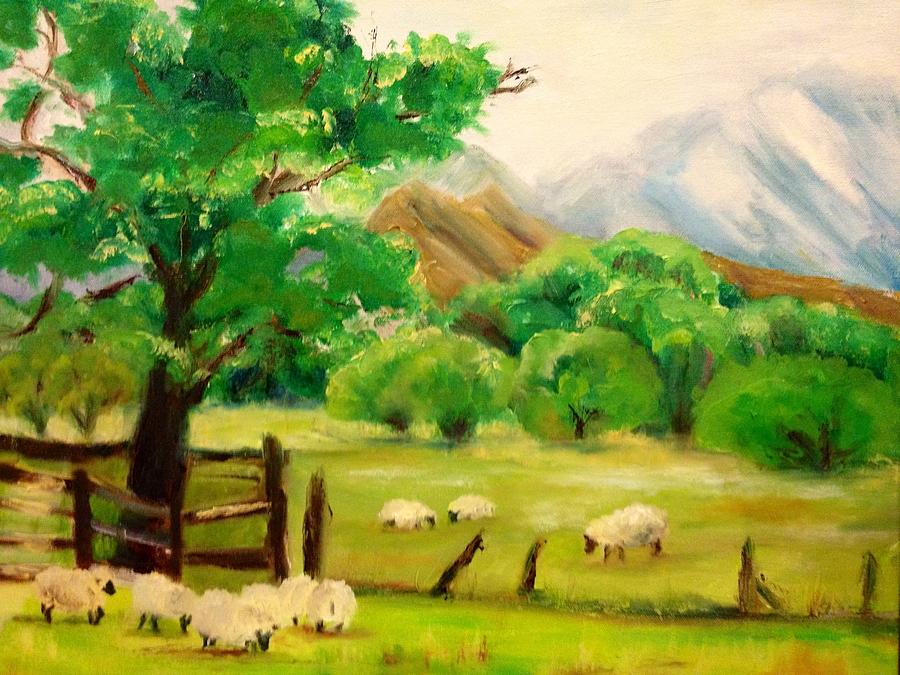 Landscape Painting - Sweaters in the making by Jenell Richards