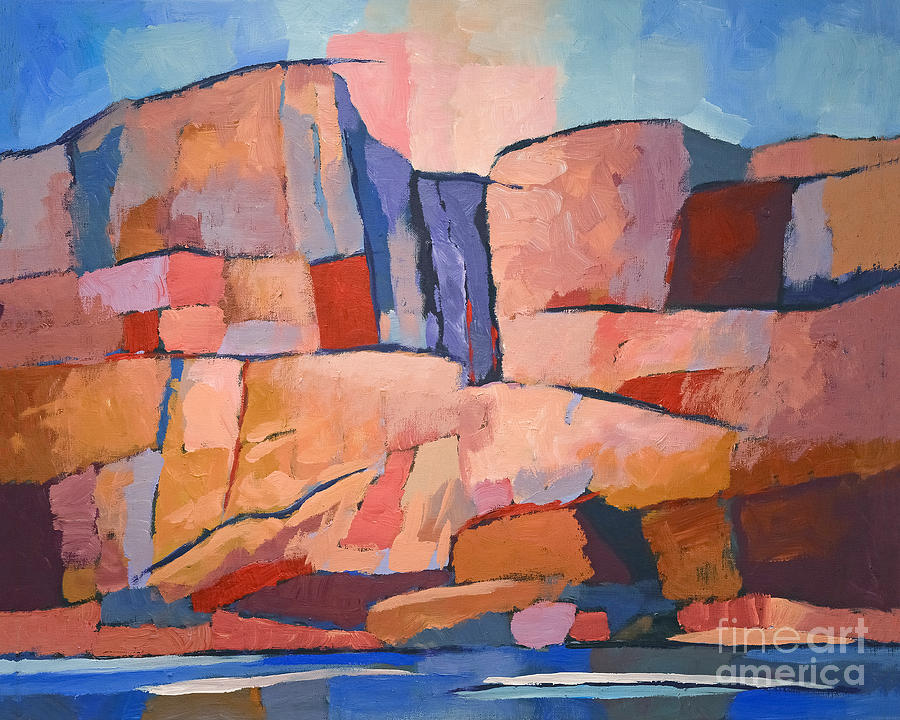 Sweden Painting - Swedish Cliffs by Lutz Baar