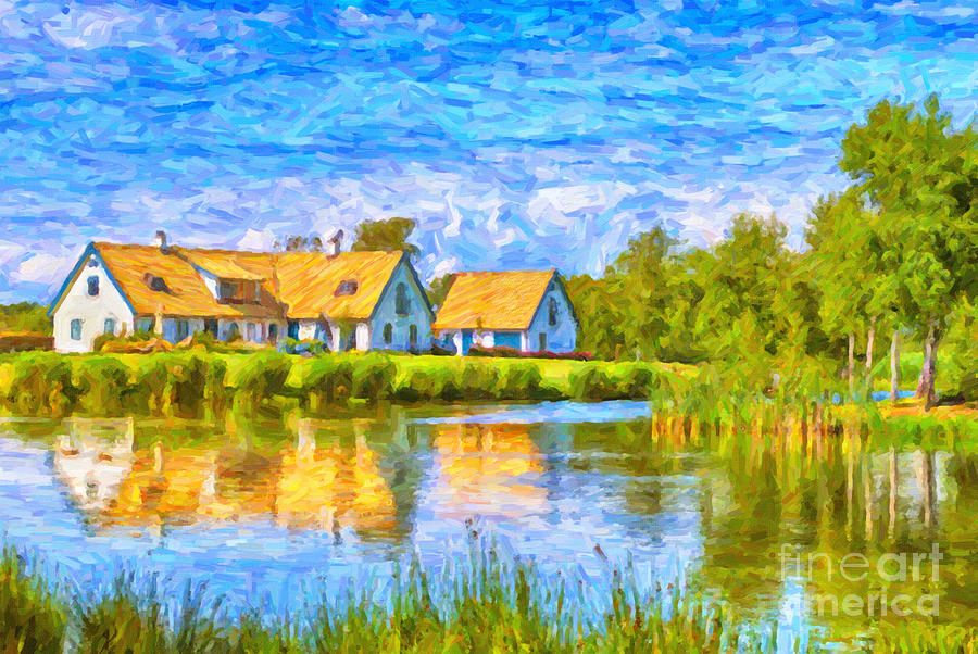 Skane Painting - Swedish Lakehouse by Antony McAulay