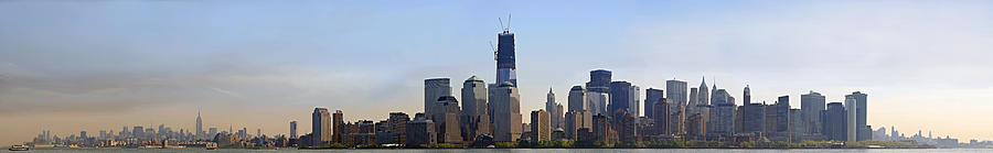 Sunset Photograph - Sweeping panorama of New York City before sunset by Sebastien Coursol