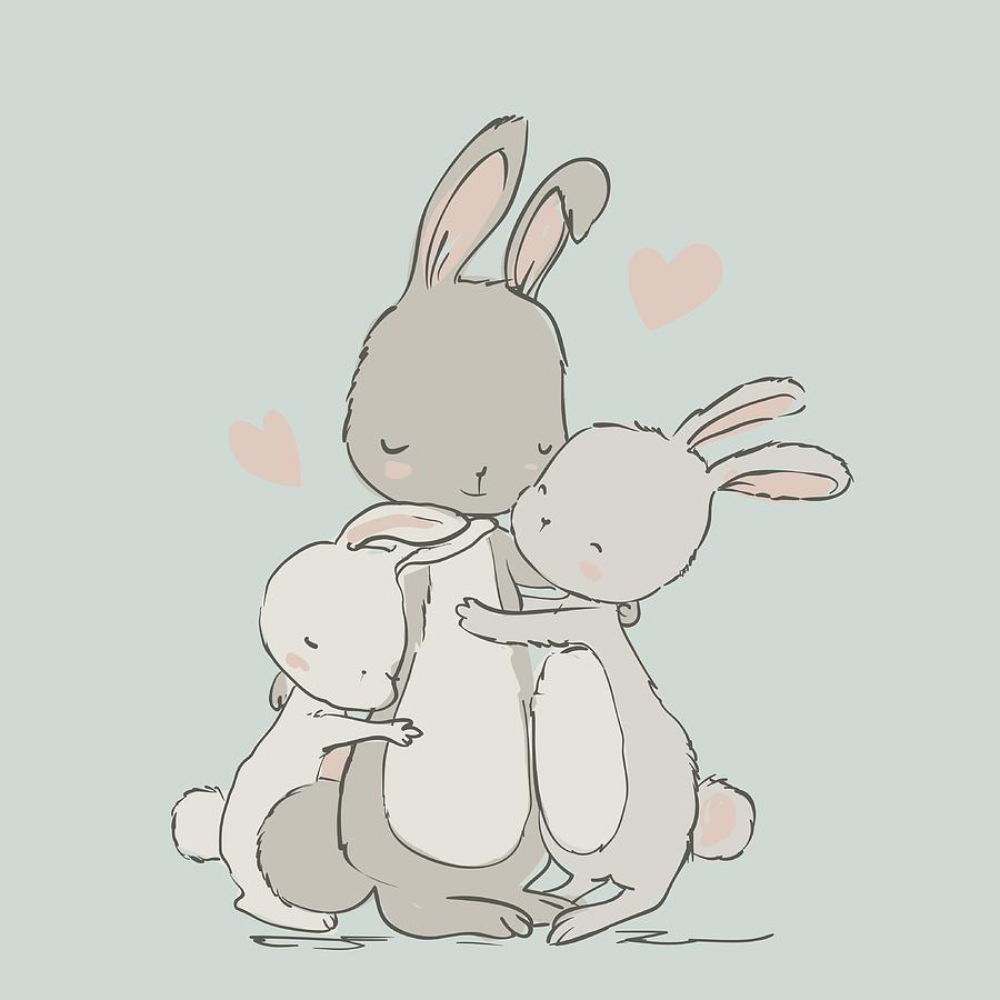 Sweet Hares - Mom And Kids Digital Art by Cofeee