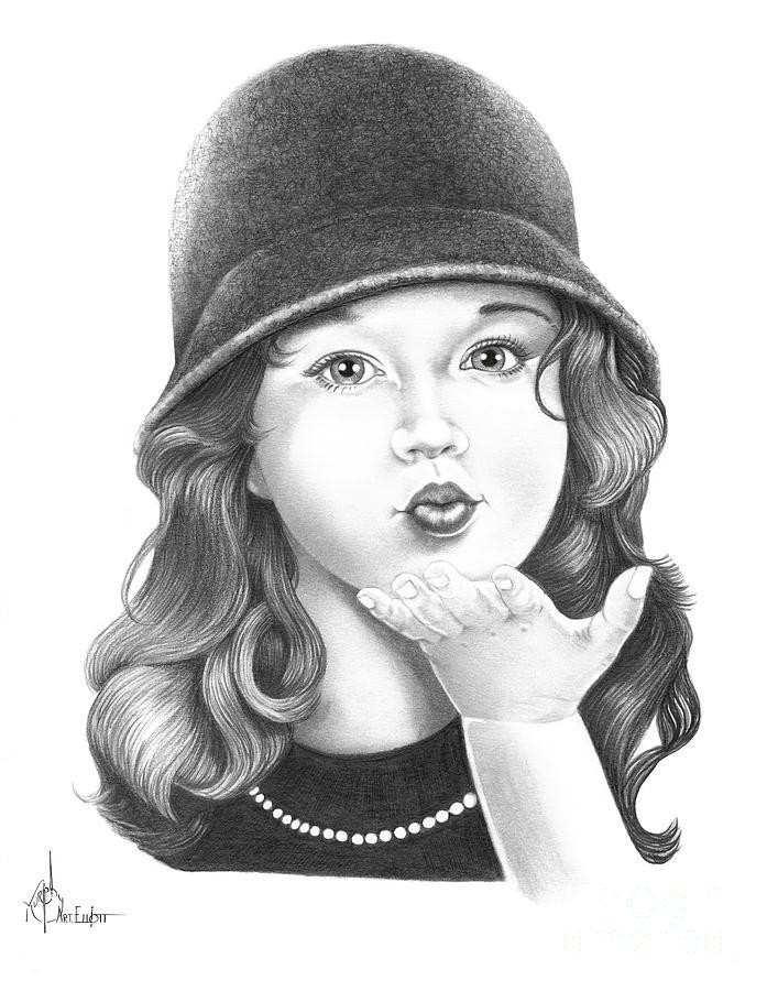 Sweet Kiss Drawing by Murphy Elliott