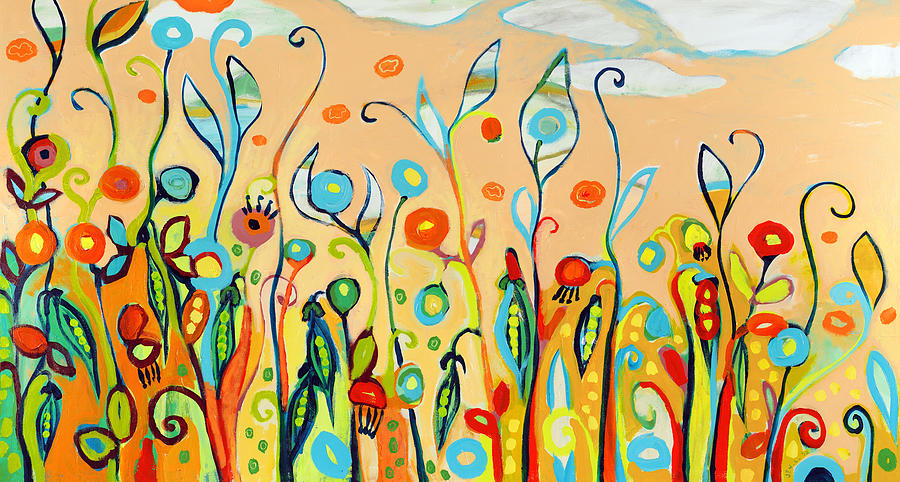 Garden Painting - Sweet Peas And Poppies by Jennifer Lommers