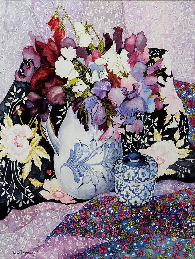 China Painting - Sweet Peas In A Blue And White Jug With Blue And White Pot And Textiles  by Joan Thewsey