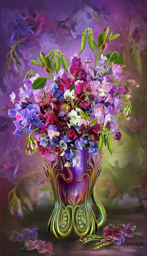 Sweet Peas In Sweet Pea Vase Mixed Media By Carol Cavalaris