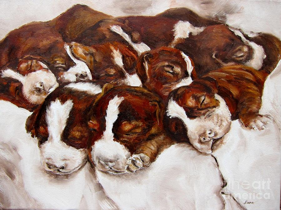 Puppies Painting - Sweet Sleep by Diane Kraudelt