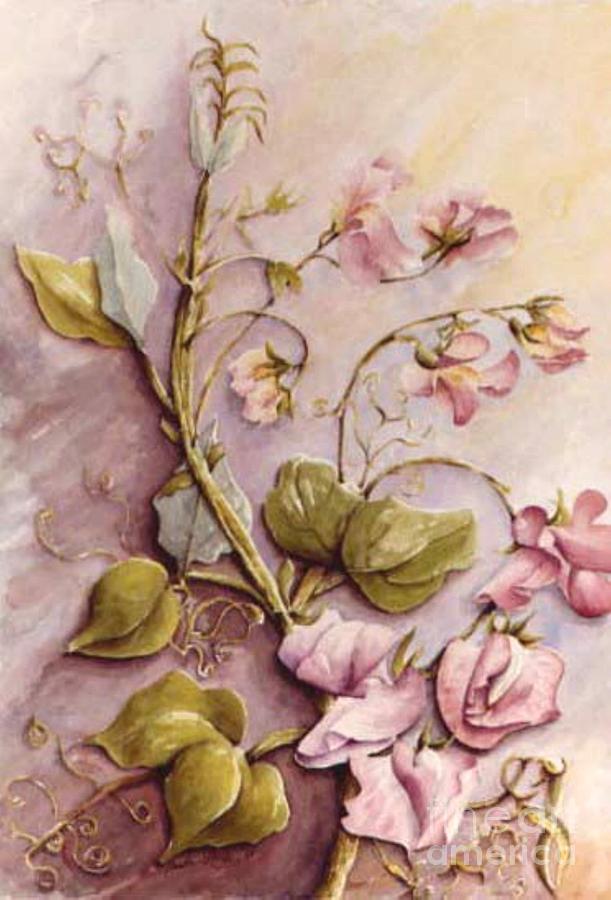 Garden Flower Painting - Sweet Sweet Pea by Marta Styk
