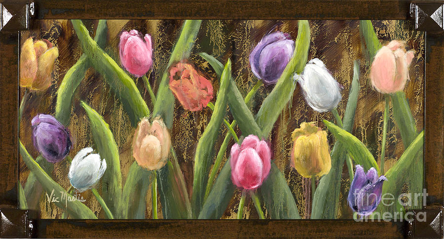 Sweet Tulips with Frame andGold Leaf by Vic Mastis by Vic  Mastis