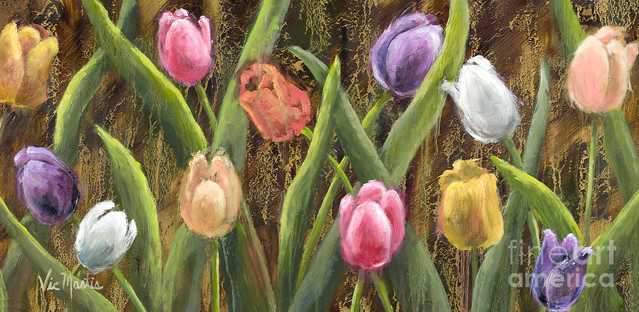 Sweet Tulips with Gold Leaf by Vic Mastis by Vic  Mastis