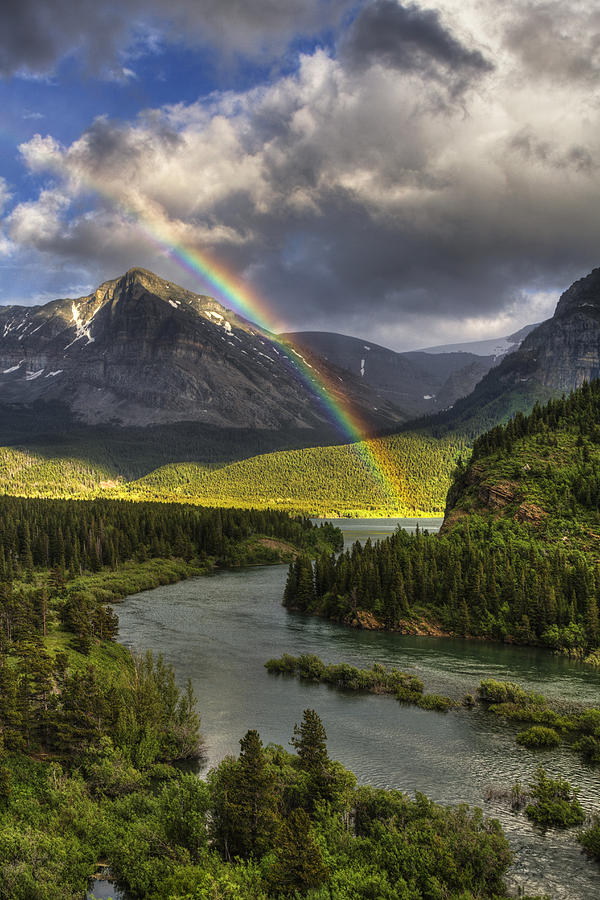 Glacier National Park Photograph - Swiftcurrent River Rainbow by Mark Kiver