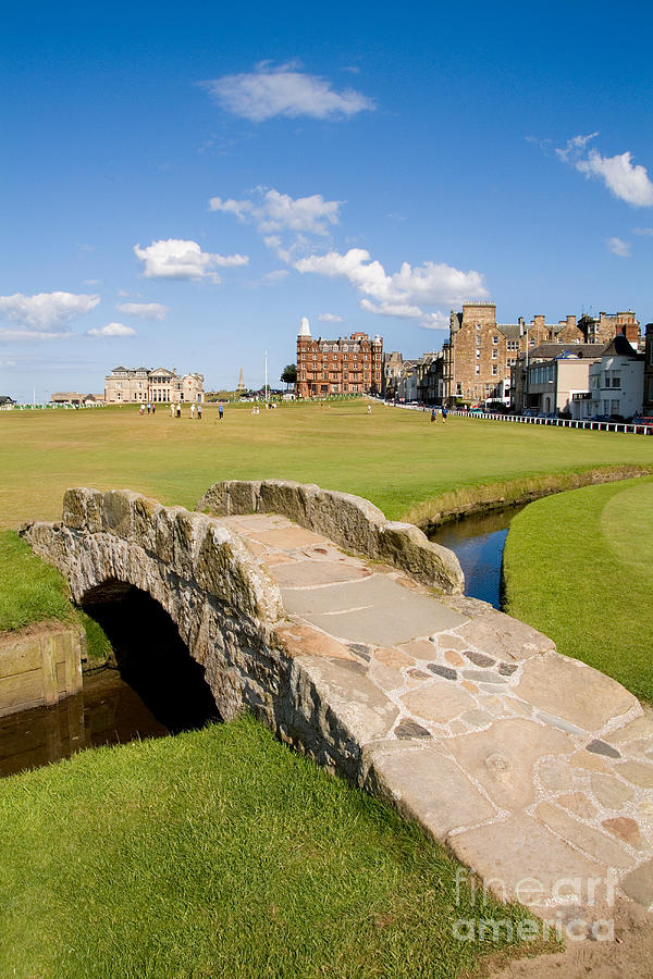 Golf Photograph - Swilcan Bridge On The 18th Hole At St Andrews Old Golf Course Scotland by Unknown