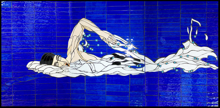 Swim Glass Art - Swimmer by Kimber Thompson