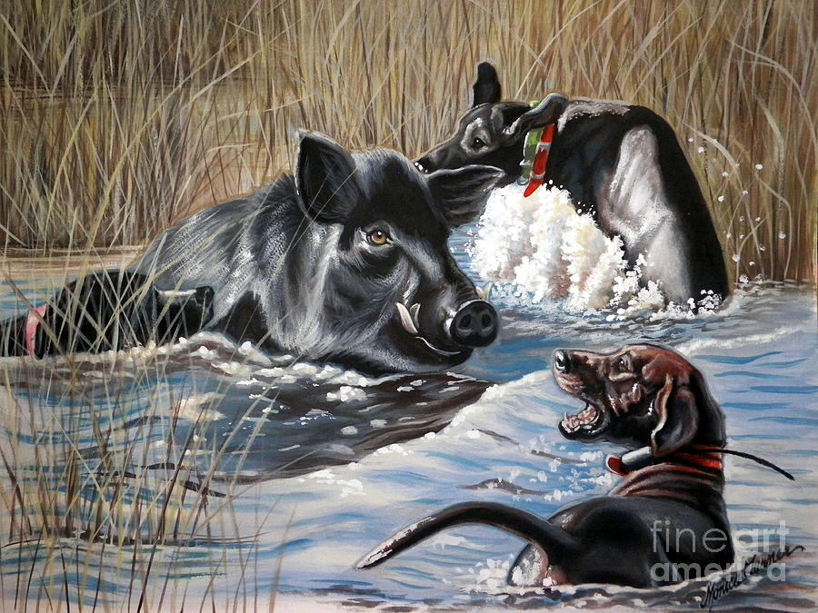 Hog Hunt Painting - Swimmers Ear by Monica Turner
