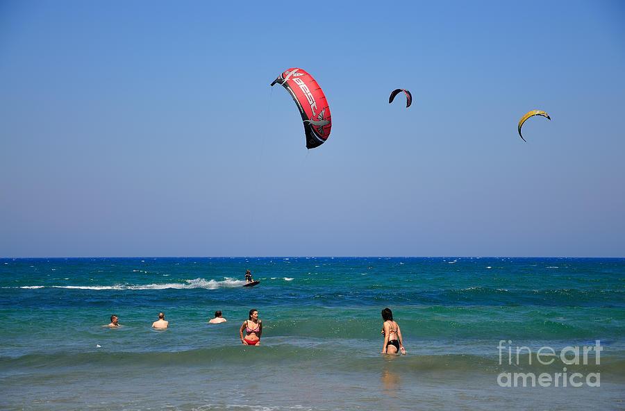 Rhodes Photograph - Swimming and kitesurfing in Prasonisi by George Atsametakis