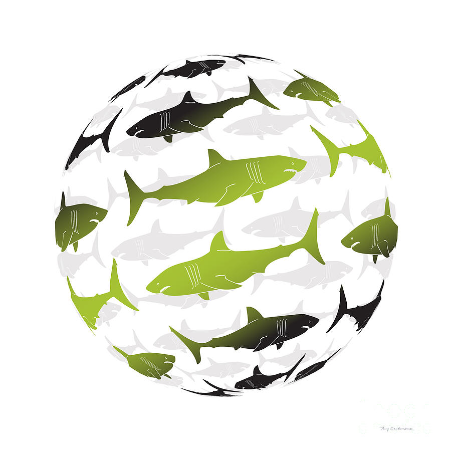 Shark Painting - Swimming Green Sharks Around The Globe by Amy Kirkpatrick