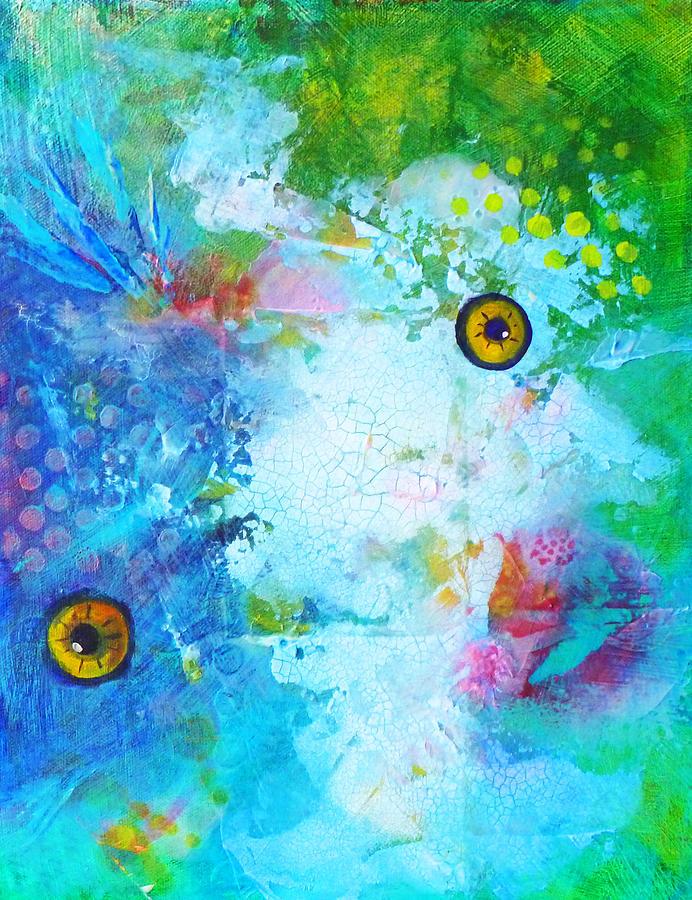 Funky Painting - Swimming by Nancy Merkle
