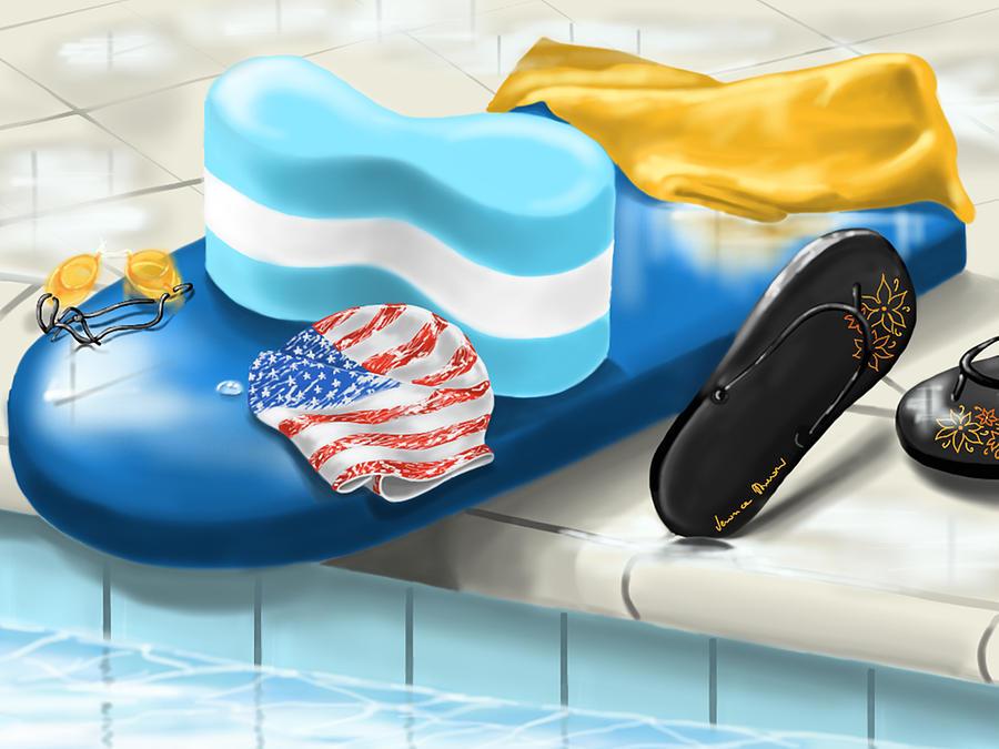 Digital Painting - Swimming Pool by Veronica Minozzi
