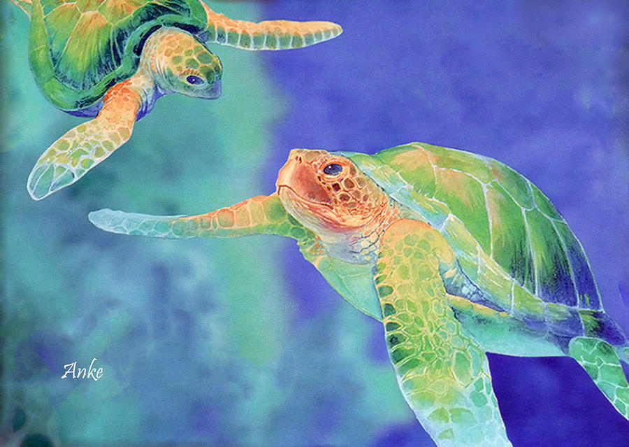 Seaturtles Painting - Swimming Seaturtles by Anke Wheeler