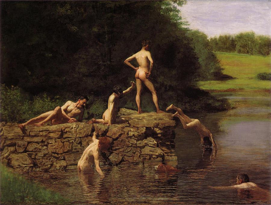 Swimming Digital Art - Swimming by Thomas Eakins