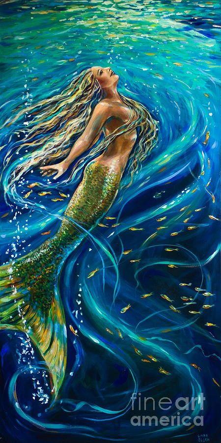 Mermaid Painting - Swimming To The Surface by Linda Olsen