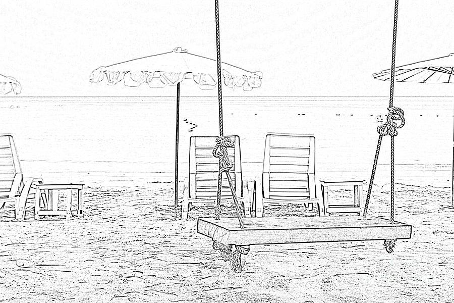 Swing And Beach Chair Drawing By Kan Pongsura