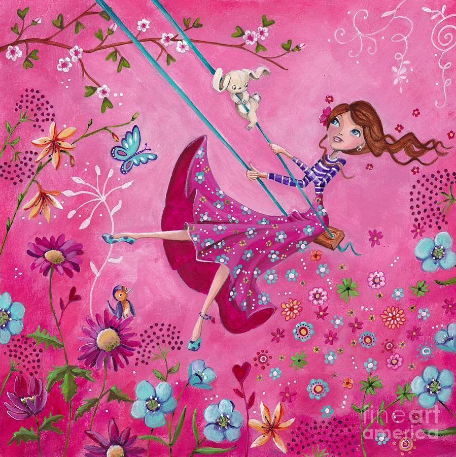 Caroline Bonne Muller Painting - Swing Girl by Caroline Bonne-Muller