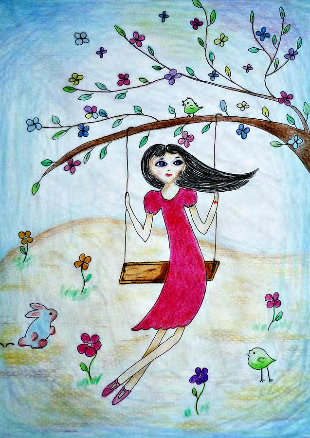 Girl Drawing - Swinging In A Tree by Jo Ann
