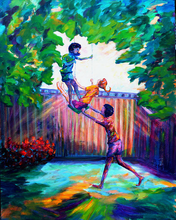 Colorful Painting - Swinging With Friends by Naomi Gerrard
