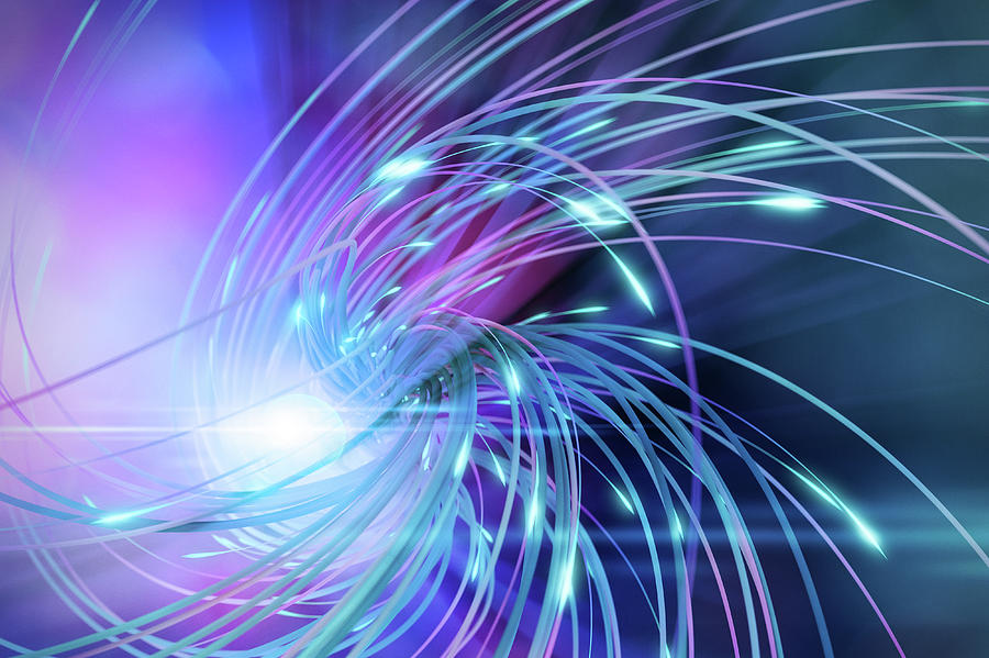 Swirl Of Lines With Glowing Ends Digital Art by Maciej Frolow