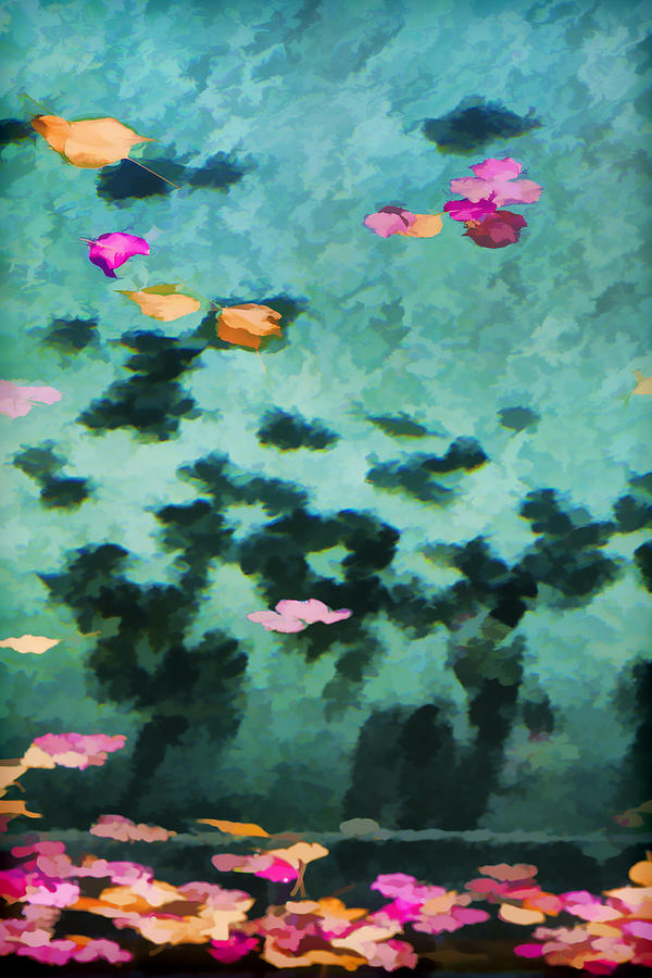 Swimming Pool Photograph - Swirling Leaves And Petals 4 by Scott Campbell