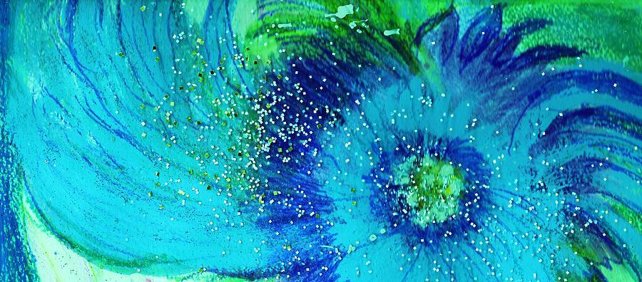 Swirly Mixed Media - Swirly Blues by Anne-Elizabeth Whiteway