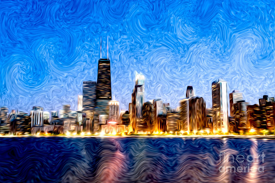America Photograph - Swirly Chicago At Night by Paul Velgos