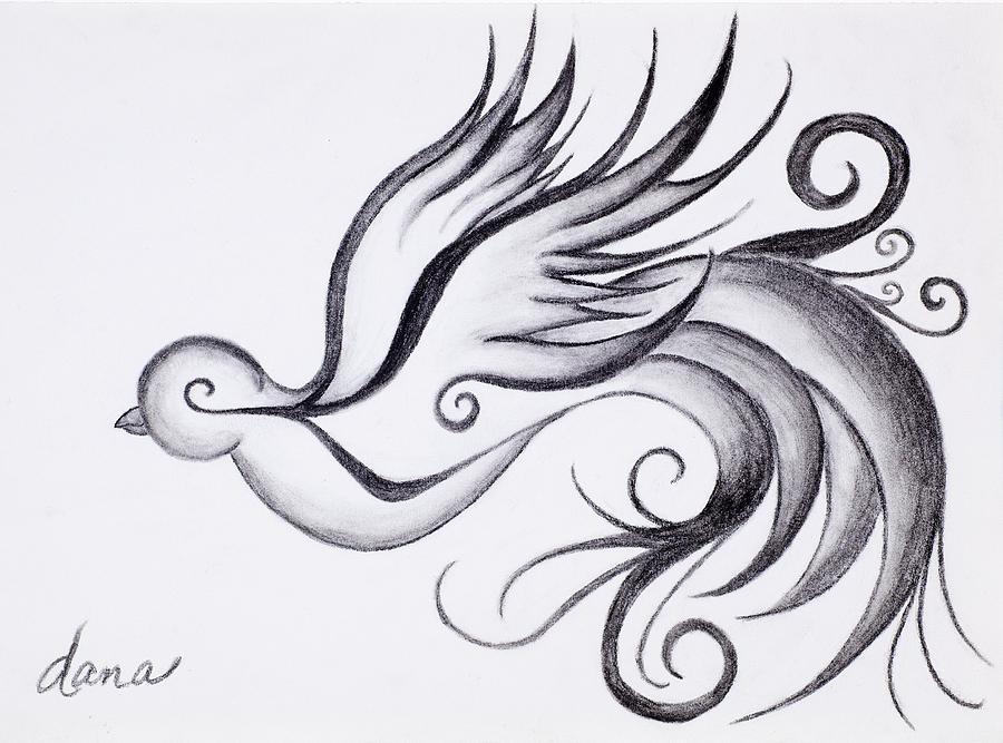 Bird Drawing - Swirly Sparrow by Dana Strotheide