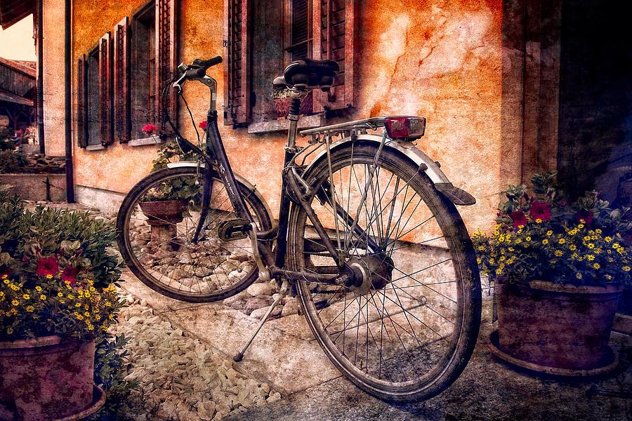 Barn Photograph - Swiss Bicycle by Debra and Dave Vanderlaan