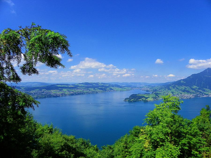 Lake Lucerne Photograph - Swiss Blue by Carolyn Bistline