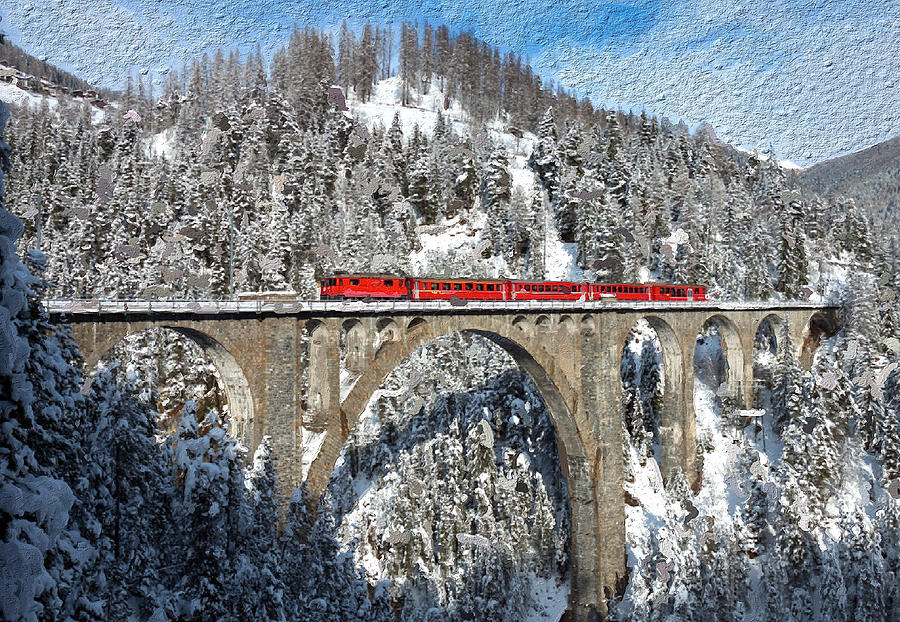Switzerland Painting - Swiss Bridge - Snow Painting by Mike Rampino
