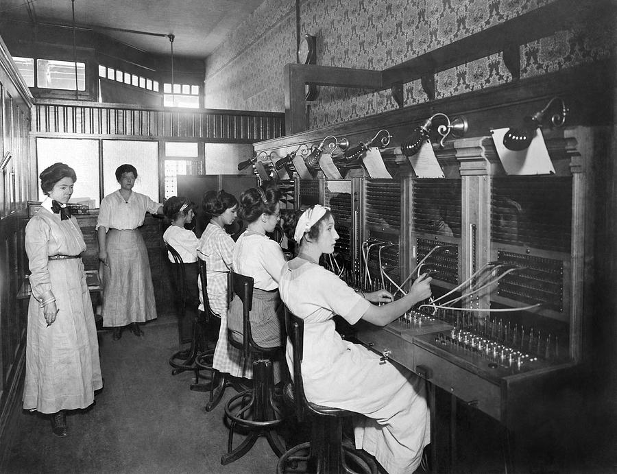 1910's Photograph - Switchboard Operators by Underwood Archives