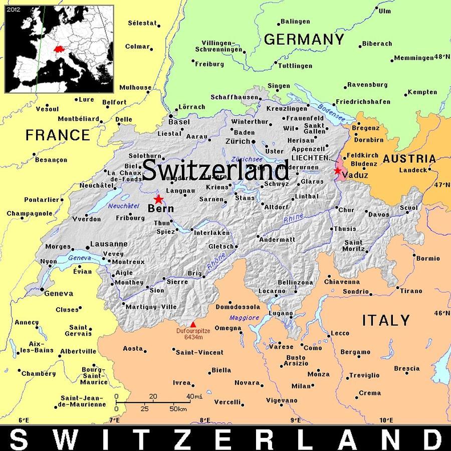 Switzerland Mixed Media - Switzerland Exotic Map by Florene Welebny