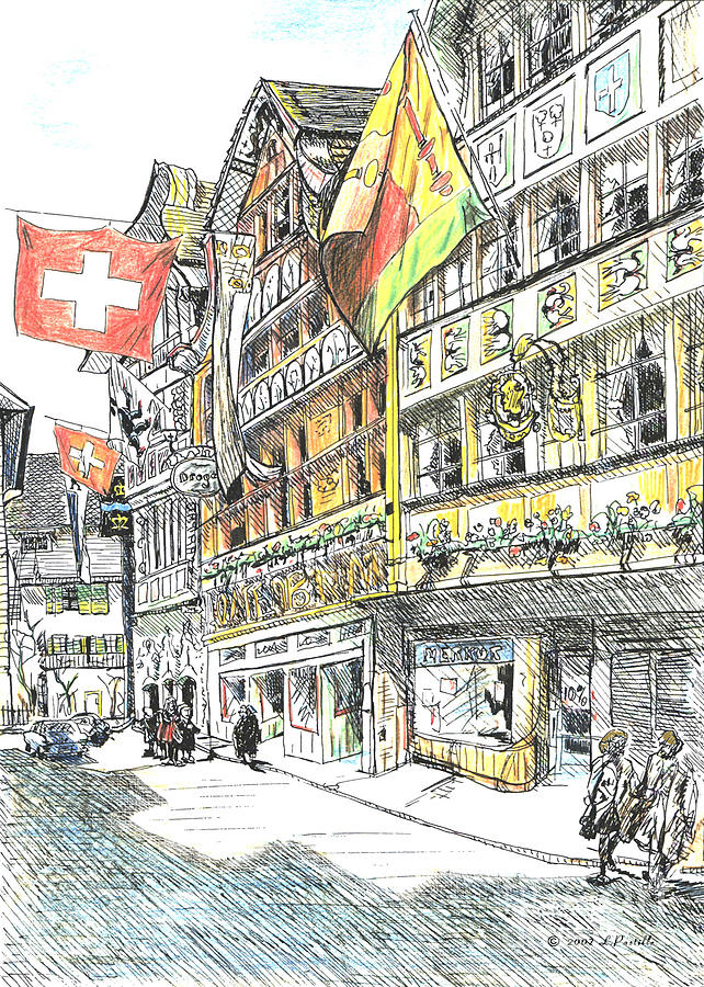 Cityscape Drawing - Switzerland by Lisa Pastille