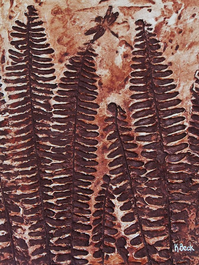 Print Painting - Sword Fern Fossil by Katherine Young-Beck