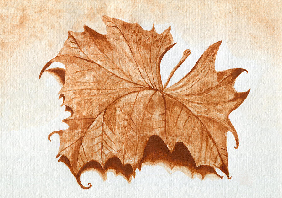 Leaf Painting - Sycamore #1 Oklahoma Red Dirt Artwork Tm by Tanya Provines