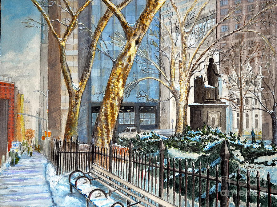 New York City Painting - Sycamores Madison Square Park by John W Walker
