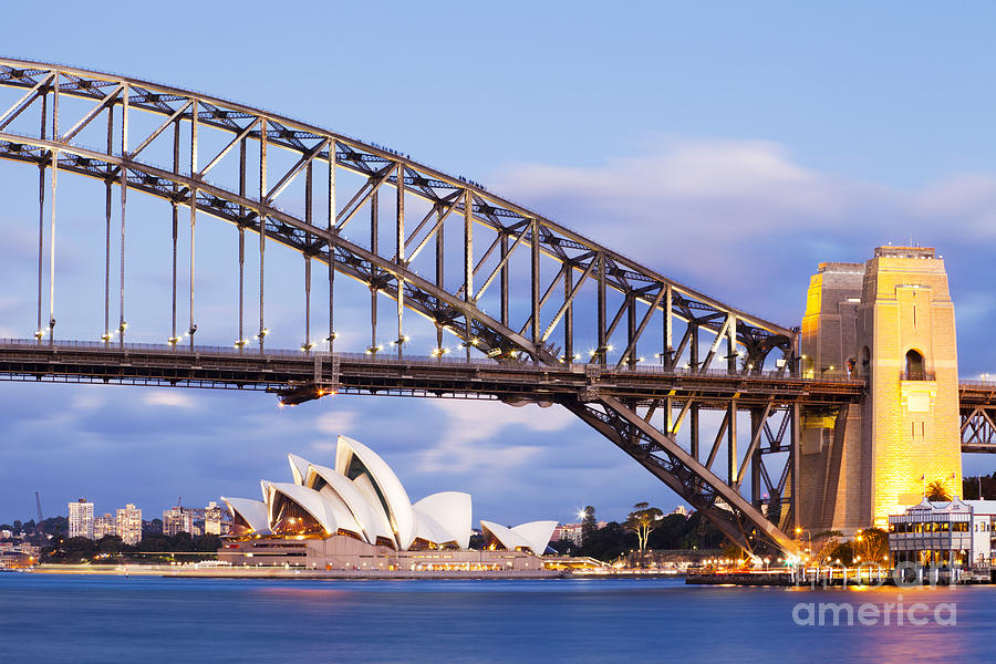 Australia Photograph - Sydney Harbour Bridge And Opera House by Colin and Linda McKie