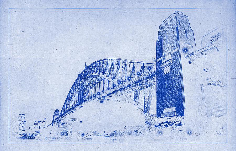 Sydney harbour bridge blueprint photograph by kaleidoscopik sydney harbour bridge photograph sydney harbour bridge blueprint by kaleidoscopik photography malvernweather Image collections