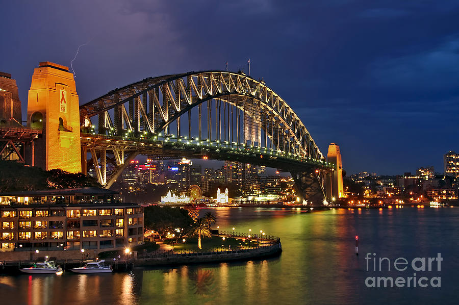 Photography Photograph - Sydney Harbour Bridge By Night by Kaye Menner