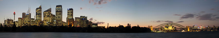 Sydney Harbour Panorama At Dusk Photograph by Ben Ivory