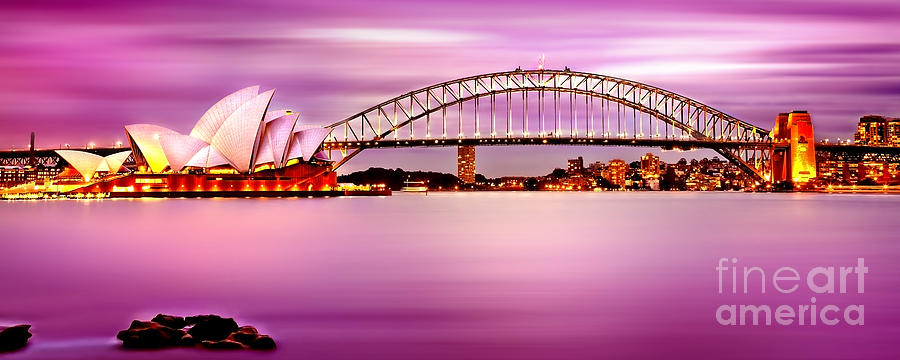 Sydney Harbour Pink Sunset Photograph
