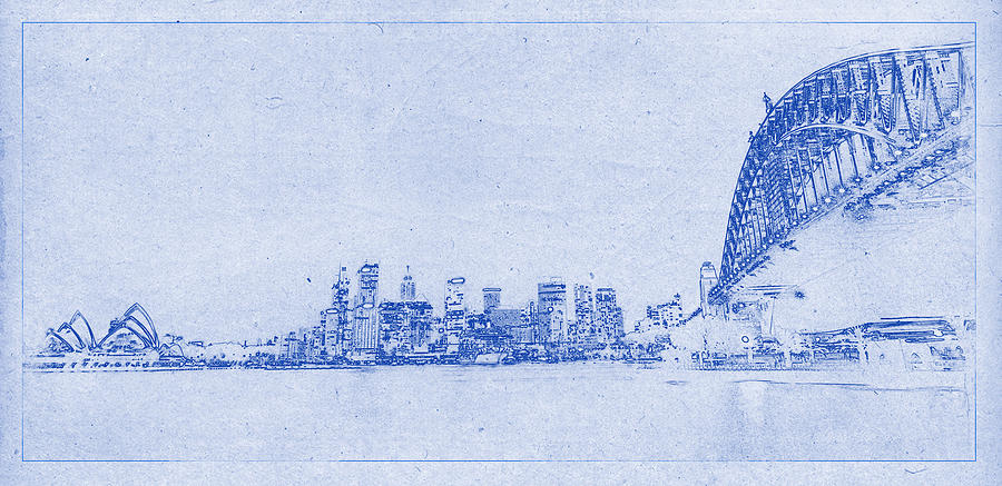 Sydney skyline blueprint photograph by kaleidoscopik photography sydney photograph sydney skyline blueprint by kaleidoscopik photography malvernweather Image collections